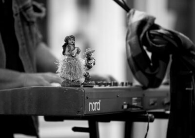 A bit of levity atop the Honeyrunners' keyboard. Photo: Will Skol