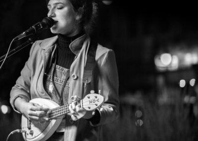 Miranda Journey plays outside OneLove. Photo: Will Skol
